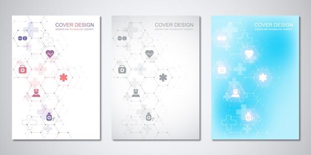 Modelli per copertina o brochure, con motivo esagoni e icone mediche. sanità, scienza e tecnologia. Vettore Premium