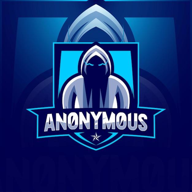 Modelli segreti esport logo mascotte anonimo Vettore Premium