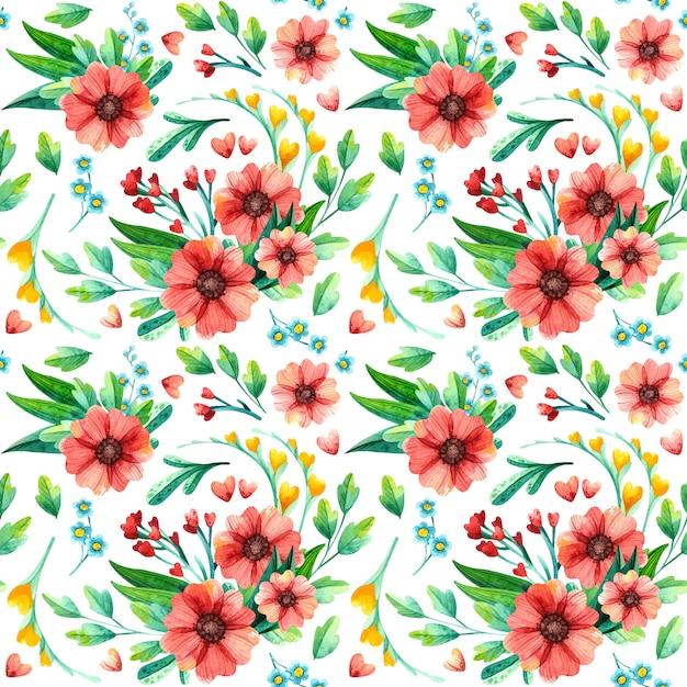 Modelli senza cuciture floreali luminosi dell'acquerello. ripetendo la trama con fiori rossi. Vettore gratuito