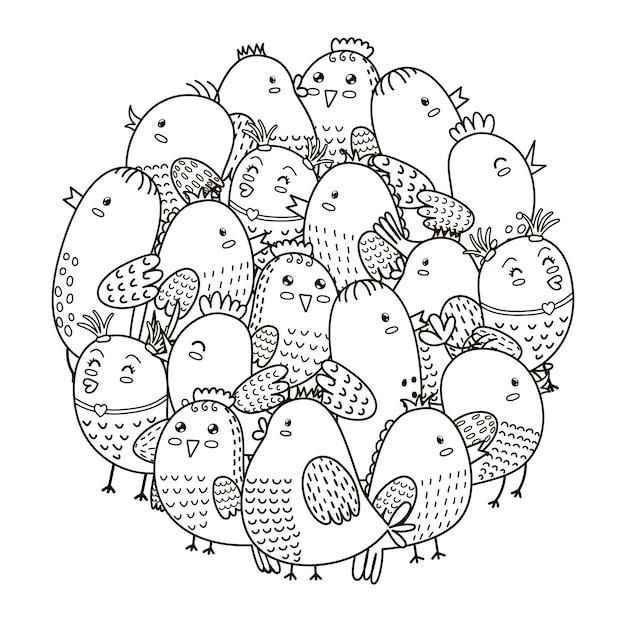 Modello a forma di cerchio con simpatici uccelli per libro da colorare Vettore Premium
