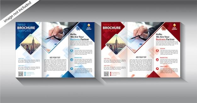 Modello a tre ante brochure per attività di promozione Vettore Premium