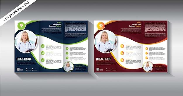 Modello a tre ante brochure Vettore Premium