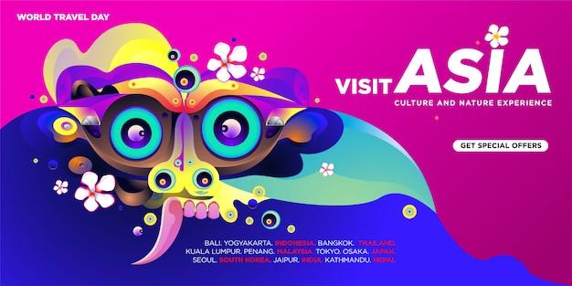 Modello asiatico dell'insegna di visita di giornata mondiale di viaggio Vettore Premium