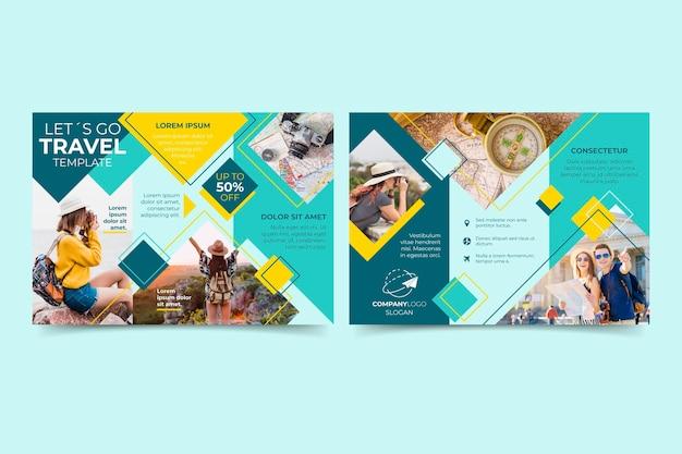 Modello astratto a tre ante brochure Vettore gratuito