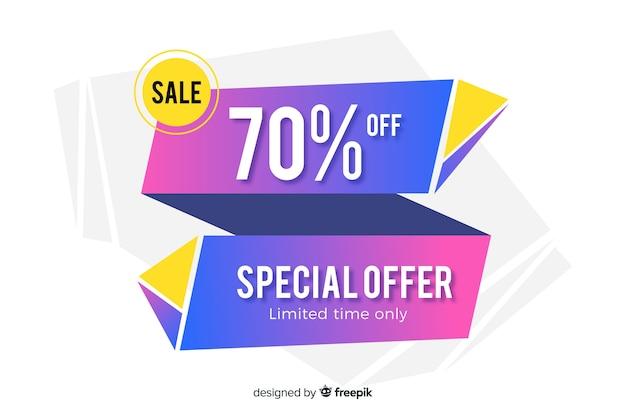 Modello astratto colorato banner di vendita Vettore gratuito