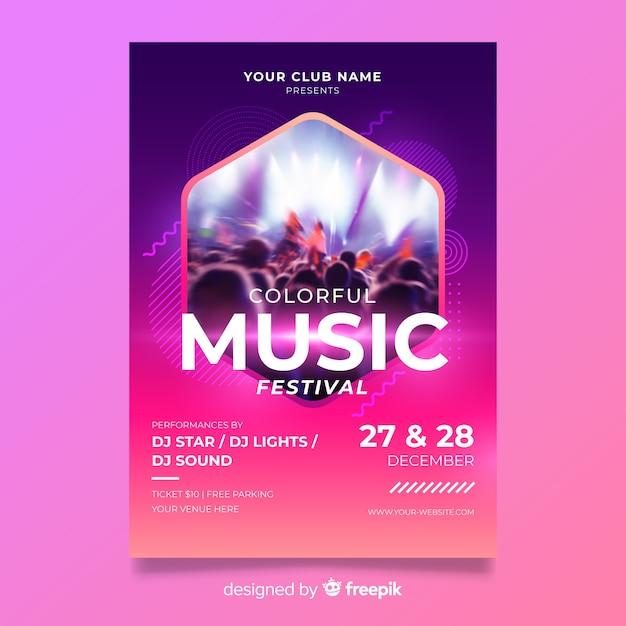 Modello astratto colorato poster di musica con foto Vettore gratuito