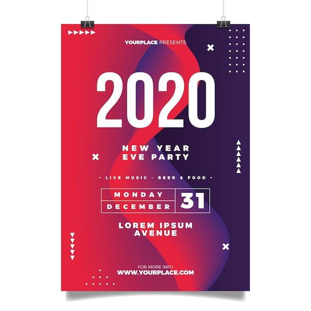 Modello astratto del manifesto del partito di nuovo anno 2020 Vettore gratuito
