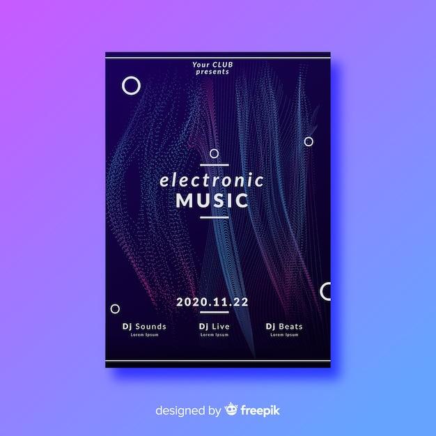 Modello astratto del manifesto di musica elettronica dell'onda Vettore gratuito