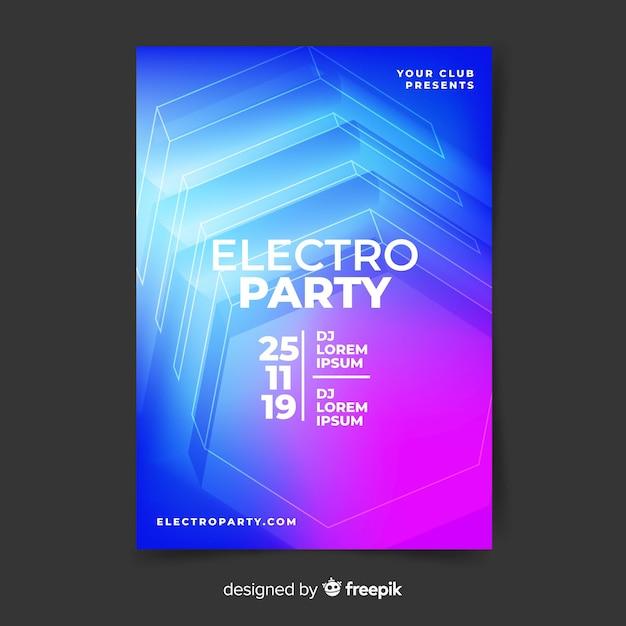 Modello astratto del manifesto di musica elettronica di effetto 3d Vettore gratuito