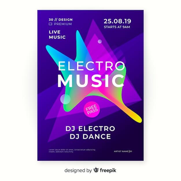 Modello astratto del manifesto di musica elettronica Vettore gratuito