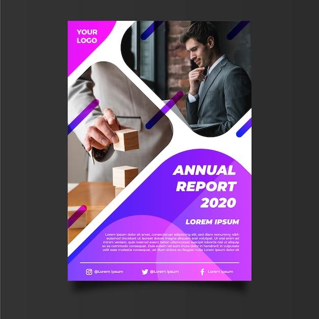Modello astratto del rapporto annuale con l'imprenditore Vettore gratuito