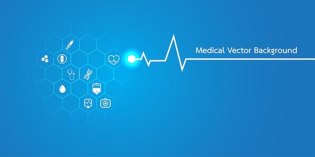 Modello astratto di concetto del fondo medico delle molecole Vettore Premium