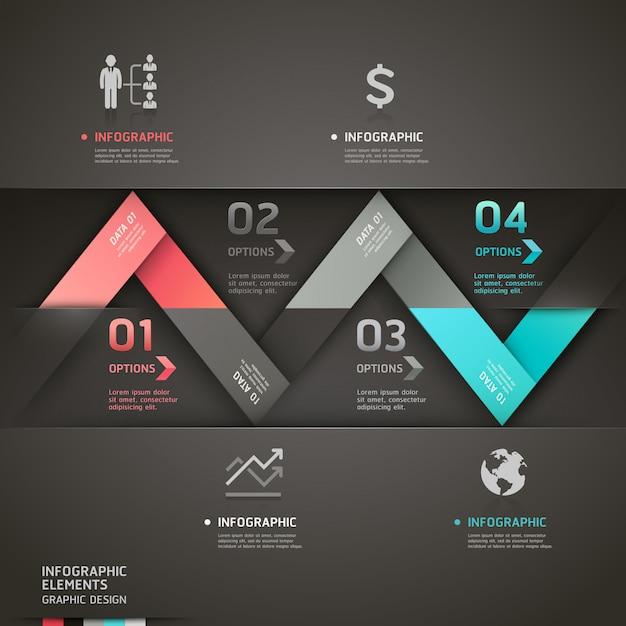 Modello astratto di infographics della freccia di origami. Vettore Premium