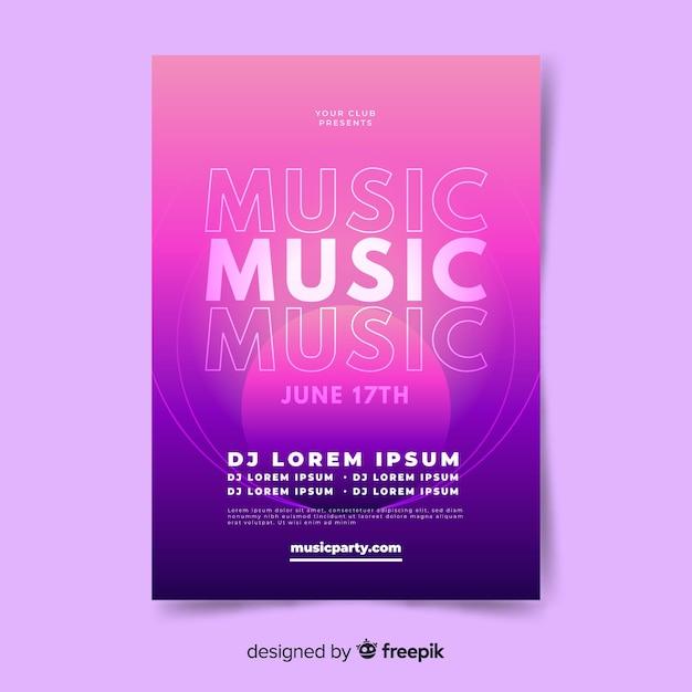 Modello astratto di musica di gradiente Vettore gratuito