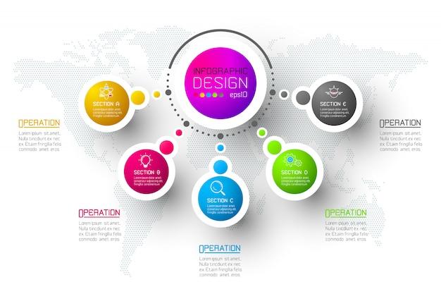 Modello astratto di opzioni di punto di infographics di affari. Vettore Premium