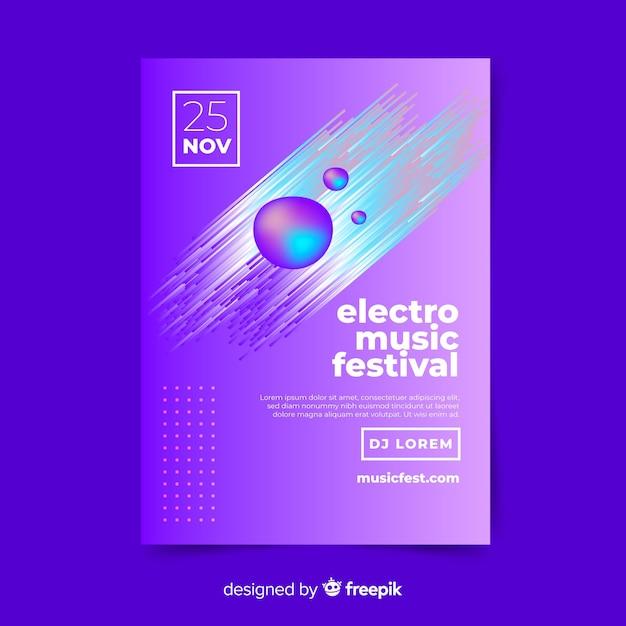 Modello astratto di poster di musica elettronica Vettore gratuito