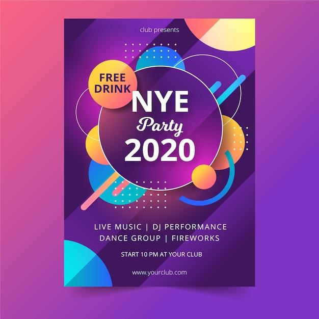 Modello astratto di volantino del partito del nuovo anno 2020 Vettore gratuito