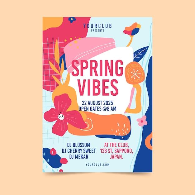 Modello astratto di volantino festa di primavera Vettore gratuito