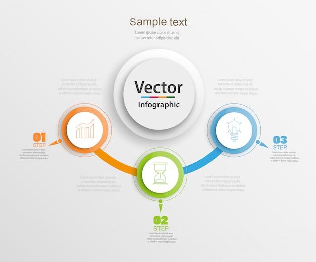 Modello astratto infografica con cerchi colorati e tre passaggi Vettore Premium