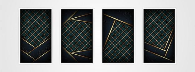 Modello astratto poligonale scuro di lusso con fondo oro Vettore Premium