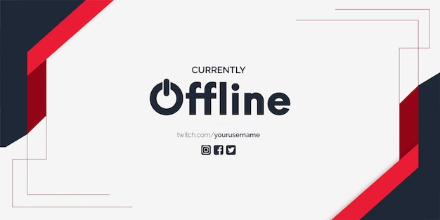Modello attualmente offline di twitch banner vector background Vettore gratuito