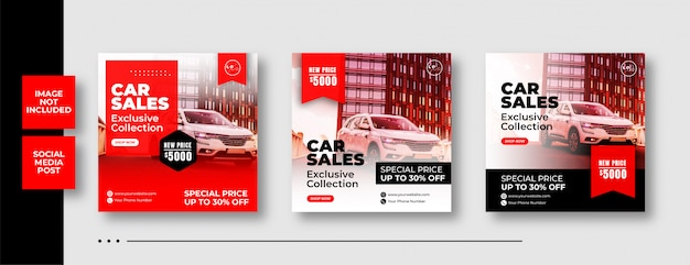 Modello automobilistico della posta del instagram di vendita dell'automobile Vettore Premium