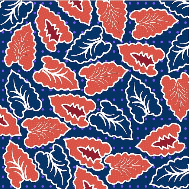 Modello batik foglia tropicale Vettore Premium