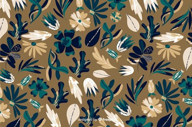 Modello batik per sfondo floreale Vettore gratuito