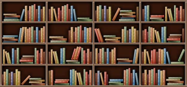 Modello bianco dello scaffale per libri, libri sullo scaffale in biblioteca Vettore gratuito