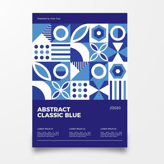 Modello blu classico astratto del manifesto Vettore gratuito