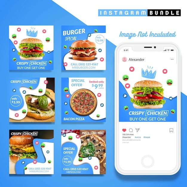 Modello blu dell'alimento della posta di Instagram Vettore Premium