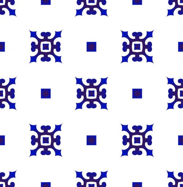 Modello blu e bianco giapponese e cinese senza cuciture, design in ceramica porcellana Vettore Premium