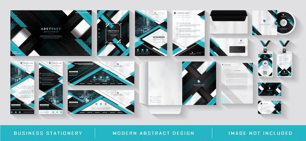 Modello blu moderno di identità corporativa di affari Vettore Premium