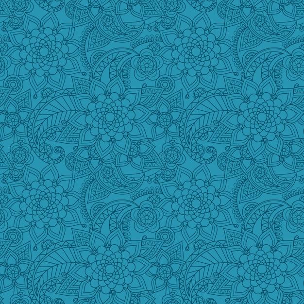 Modello blu paisley arabo con fiori Vettore Premium