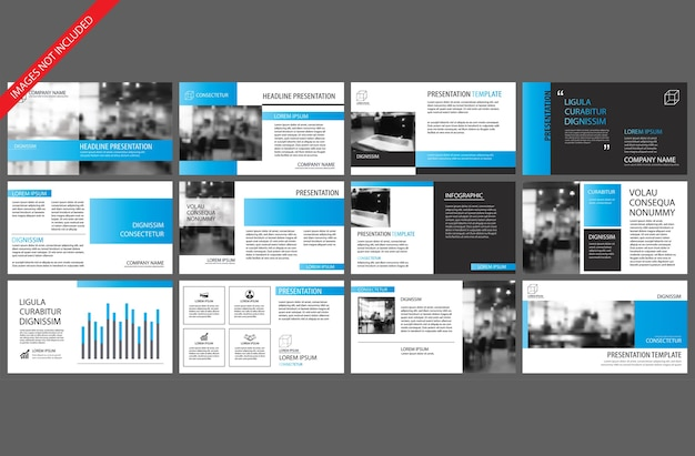 Modello blu per presentazione slide powerpoint Vettore Premium
