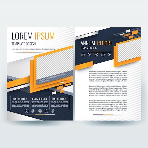 Modello brochure aziendale con forme ondulate arancione e blu scuro Vettore gratuito