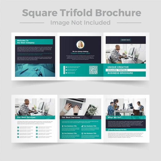 Modello brochure - tre volte quadrato Vettore Premium