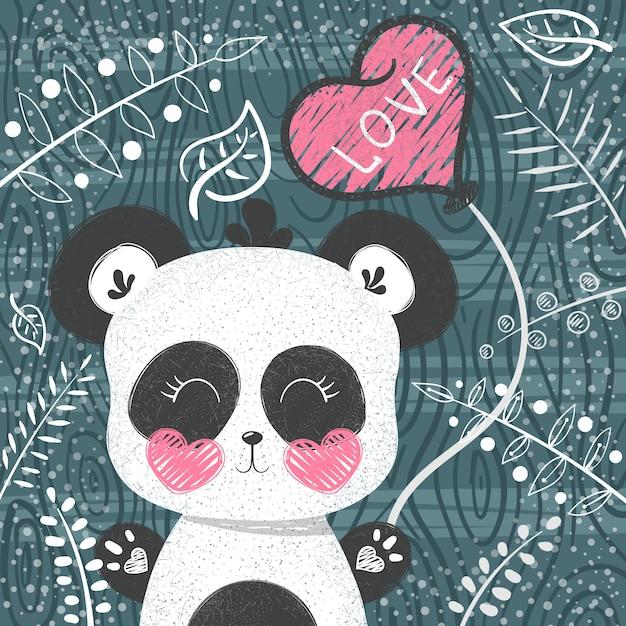 Modello carino panda Vettore Premium