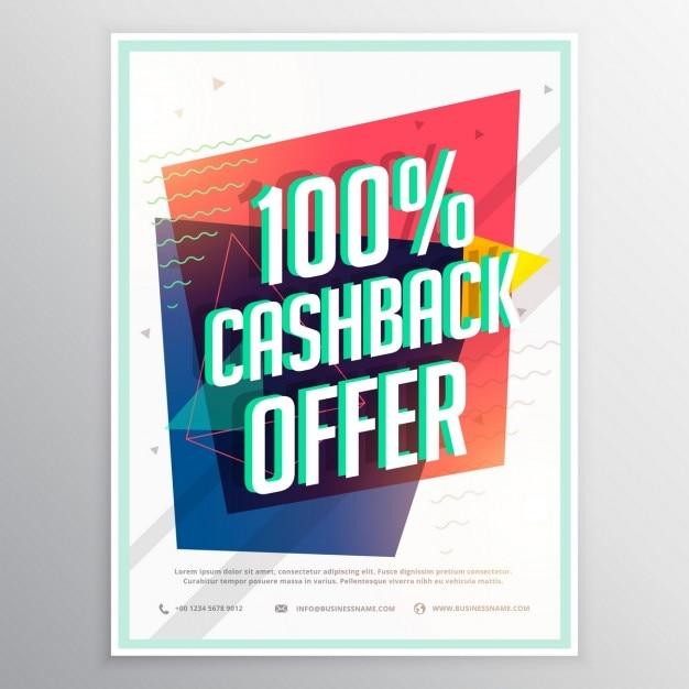Modello cashback sconto opuscolo volantino con forme geometriche colorate Vettore gratuito