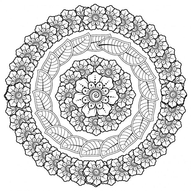 Modello circolare a forma di mandala con fiore per henné, mehndi, tatuaggio, decorazione. Vettore Premium
