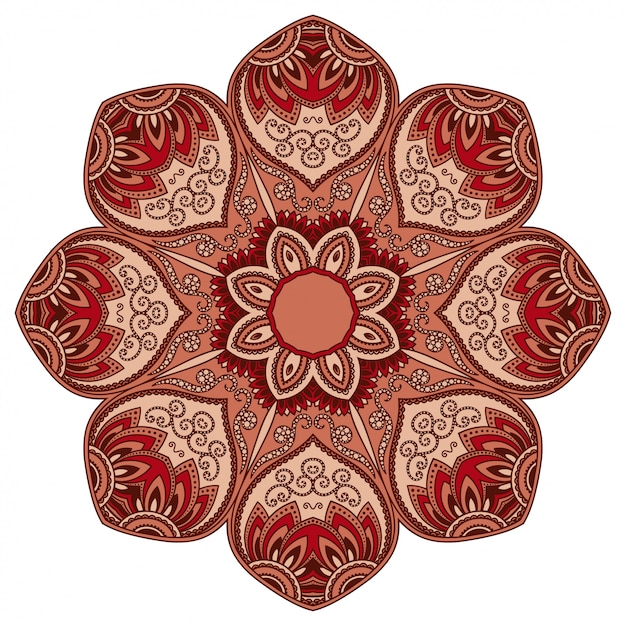 Modello circolare di colore a forma di mandala con fiore per la decorazione o la stampa. ornamento decorativo in stile etnico orientale. design rosso su sfondo bianco. Vettore Premium