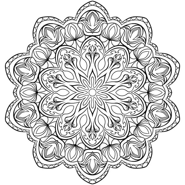 Modello circolare in forma di mandala per l'henné Vettore Premium
