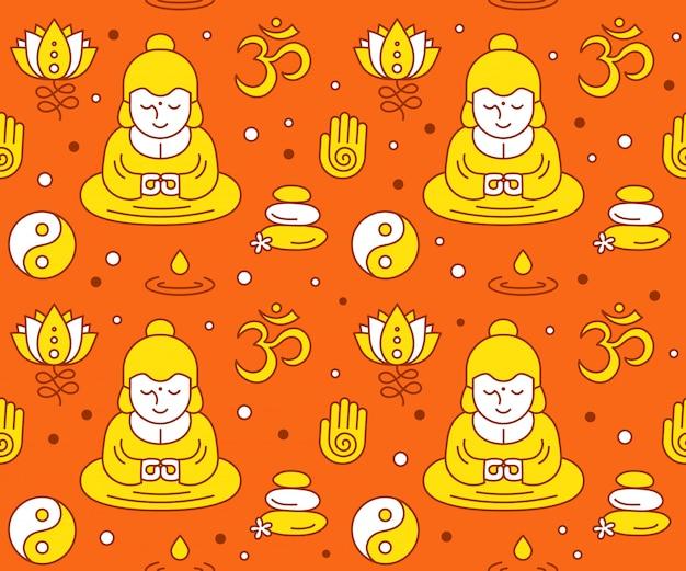 Modello clolor senza cuciture di simboli sacri religiosi buddisti. icona di stile moderno linea piatta desgin. esoterico, buddismo, tailandese, dio, yoga, modello zen Vettore Premium