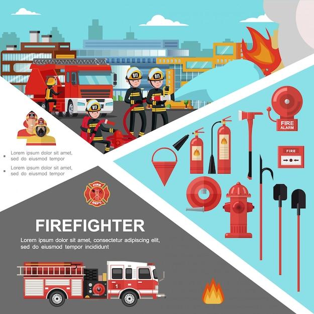 Modello colorato antincendio con i pompieri che estinguono le attrezzature e gli strumenti del vigile del fuoco e del fuoco nello stile piano Vettore gratuito