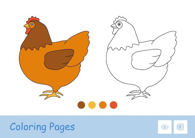 Modello colorato e semplice immagine di contorno spessa incolore di rimanere pollo per il libro da colorare per bambini più piccoli. animali domestici in fattoria, cortile per uccelli e in campagna. divertimento e apprendimento per i bambini. Vettore Premium
