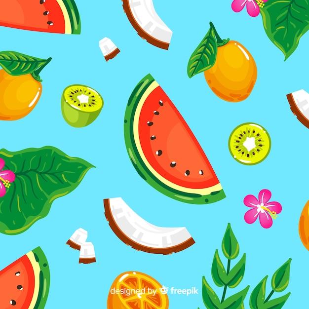 Modello colorato frutto tropicale Vettore gratuito