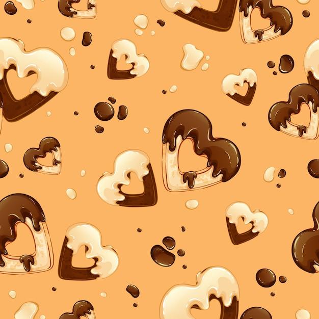 Modello con cuori di biscotti in glassa al cioccolato bianco e nero e con gocce di cioccolato. Vettore Premium