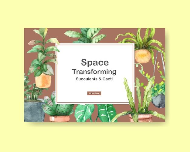 Modello con design di piante estive per social media, internet, web, comunità online e pubblicizzare illustrazione ad acquerello Vettore gratuito