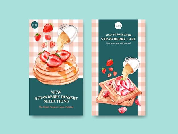 Modello con il disegno di cottura della fragola per i social media con le cialde e l'illustrazione dell'acquerello del pancake Vettore gratuito