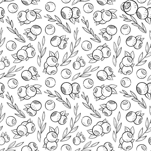 Modello con mirtillo e foglie in stile kawaii. pagina da colorare con frutta per caffè Vettore Premium